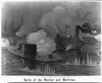 Battle of the Monitor and Merrimac, REPRODUCTION NUMBER:  LC-USZ62-15166, Library of Congress Prints and Photographs Division.