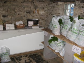 veg bags and 'extras', all ready for collection in the Swallow House