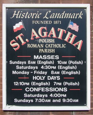 Saint Agatha Roman Catholic Church, in Saint Louis, Missouri - sign