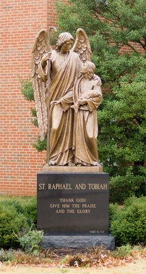 Statue of Saint Raphael from the Book of Tobit, from Saint Raphael Catholic Church, in Saint Louis, Missouri