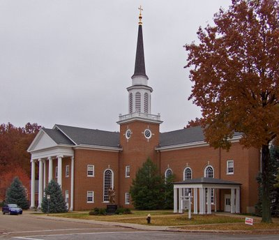Exterior view of Saint Raphael Catholic Church, in Saint Louis, Missouri
