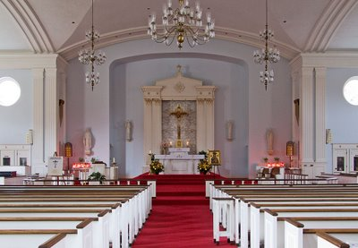 Nave of Saint Raphael Catholic Church, in Saint Louis, Missouri