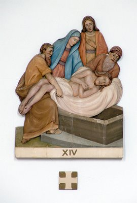 Station of the Cross at Saint Raphael Catholic Church, in Saint Louis, Missouri, Jesus is placed in the tomb