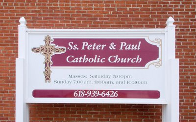 Mass times, Saints Peter and Paul Church, in Waterloo, Illinois