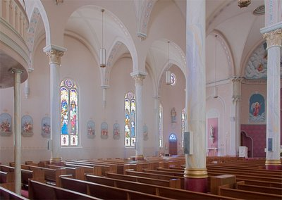 View of side of nave, in Saints Peter and Paul Church, in Waterloo, Illinois