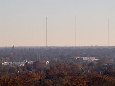 View of south Saint Louis County showing broadcast towers and Kenrick-Glennon Seminary