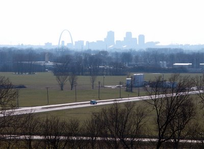 View of downtown Saint Louis, Missouri, from the top of Monk's Mound, near Collinsville, Illinois