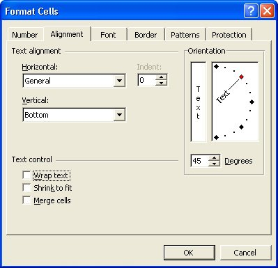 Excel cell alignment options