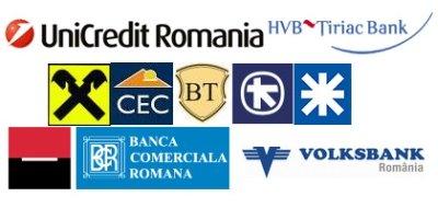 UniCredit, HVB Tiriac, Raiffeisen Bank, CEC, Banca Transilvania, Alpha Bank, Finansbank, BRD, BCR, Volksbank