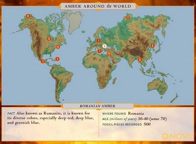 Map of Amber around the World