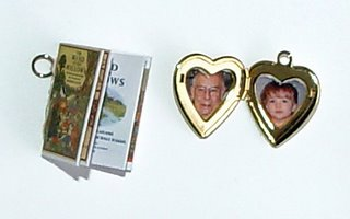 miniature book and locket for memory dolls by Robin Atkins, bead artist