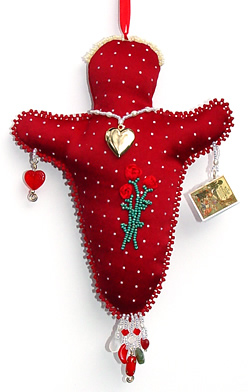 memory doll for Mom, by Robin Atkins, bead artist