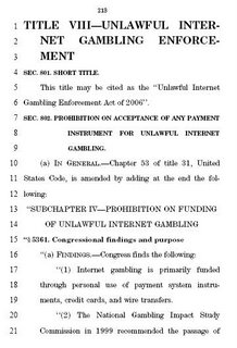 First page of the Unlawful Internet Gambling Enforcement Act