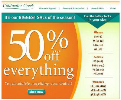 ColdwaterCreek lets you shop by size
