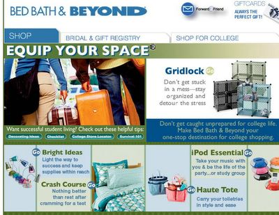 BedBathandBeyond provides a back-to-school checklist and other tools