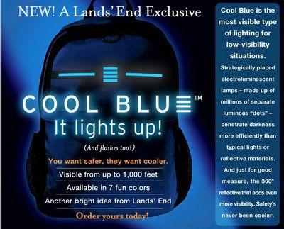 LandsEnd uses animation to make the lights blink on its Cool Blue backpack