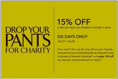 BananaRepublic appeals for pants donations