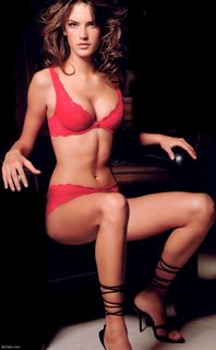 Alessandra Ambrosio in red lingerie