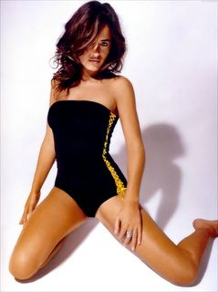Jade Jagger in a swimsuit