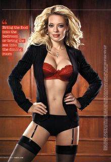 Jeri Ryan in a red bra and stockings