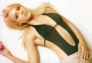 Jessica Alba in black swimsuit