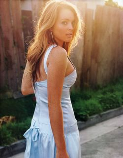 Lindsay Lohan looking good in blue