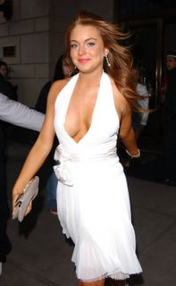 Lindsay Lohan in a white dress