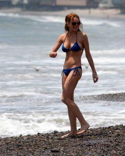 Lindsay Lohan in a blue bikini