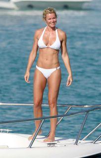 Nell McAndrew in a white bikini