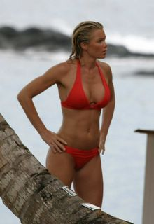 Nell McAndrew in a red bikini
