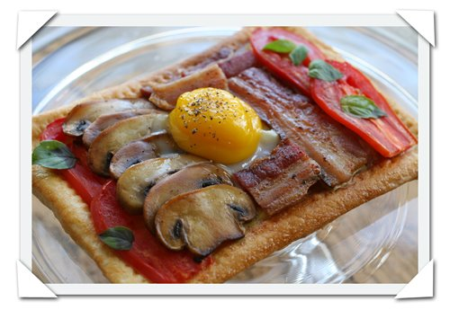 donna hay inspired recipe for photograph picture of breakfast tart with bacon mushroom tomato and egg
