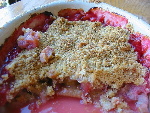 photograph picture  Roots and Grub Rhubarb Crumble for St George's Day What's For Pud