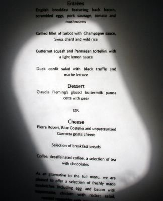 photograph picture of concorde food menu at filton
