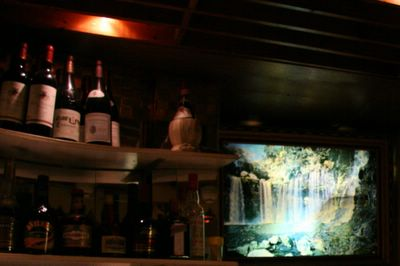 photograph picture of the Maharani, soho, indian restaurant new decor but waterfall picture still remains