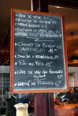 photograph picture le menu a La Tête de Goinfre Paris