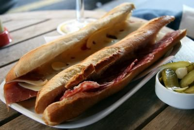 photograph picture of jambon fromage et saucisson sec sandwich avec les cornichons, a Paris, France