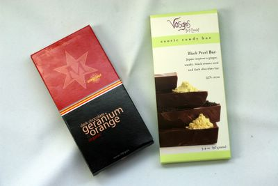 photograph picture Montezuma's dark chocolate geranium orange organic and Vosges Black pear bar