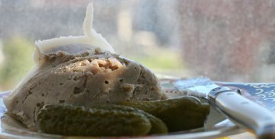 photograph picture pork rillettes with cornichons
