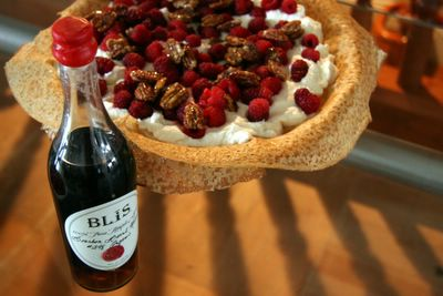 photograph picture bretagne crepes with maple cream and raspberries and tayberries and candied pecans