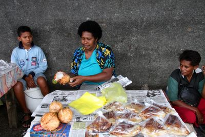 photograph picture of suva market fresh coconut stall