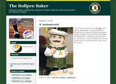 photograph picture of the San Francisco bay area food blogger bullpen baker fan of the Oaklan As