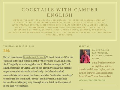 photograph picture of the San Francisco bay area cocktail blog from camper english