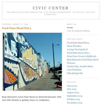 photograph picture of the the front page of the civic center blog by my friend mike