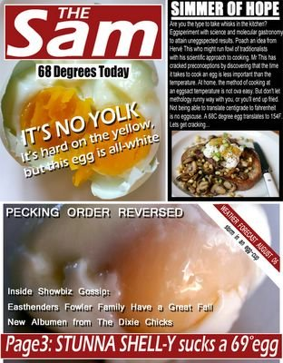 <br />In the Style of The Sun Newspaper<br />Lots of Silly egg puns<br /><br />A SIMMER OF HOPE<br />=================<br /><br />Are you the type to take whisks in the kitchen? <br />Eggsperiment with science and molecular gastronomy<br />to attain uneggspected results. Poach an idea from<br />Hervé This who might run fowl of traditionalists <br />with his scientific approach to cooking. Mr This has<br />cracked preconceptions by discovering that the time<br />it takes to cook an egg is less important than the<br />temperature. At home, the method of cooking at <br />an eggsact temperature is not ova easy. But don't let <br />methology runny way with you, or you'll end up fried.<br />Not being able to translate centigrade to fahrenheit<br />is no eggscuse. A 68C degree egg translates to 154F. <br />Lets get cracking...