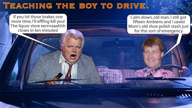 Ted Kennedy teaches Patches to drive