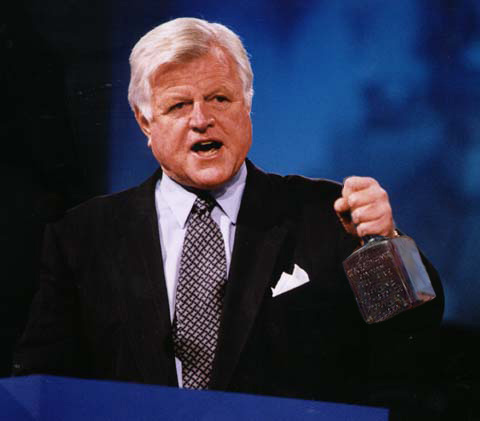 Teddy Kennedy gives a speech