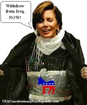 Nacy Pelosi in her bomb belt