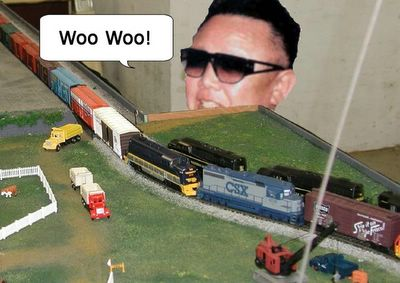 Kim Il Jung plays trains