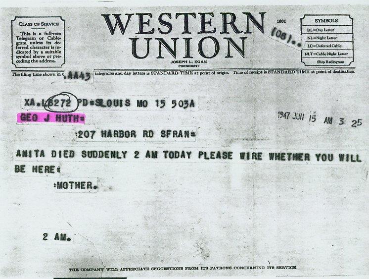 Telegram From Eleanora (Schellman) Lehr To George J. Huth (15 Jun 1947) Pictures Gallery