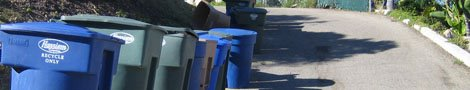 de zware vuilbakken, groen - blauw - bruin